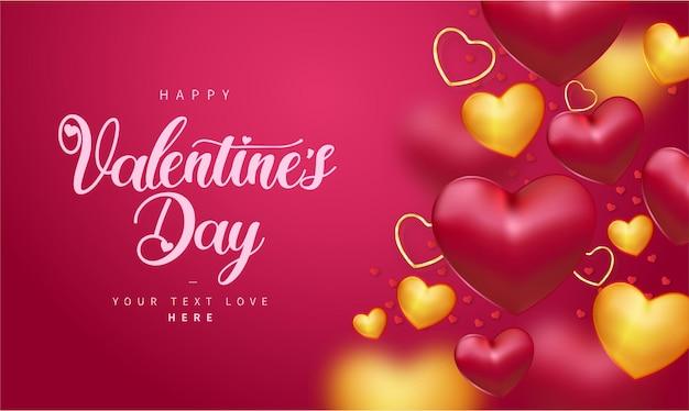 Felice giorno di san valentino sfondo con cuori realistici Vettore gratuito