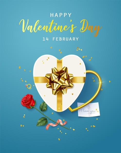 행복한 발렌타인 데이. 배너, 전단지, 포스터, 인사말 카드 프리미엄 벡터