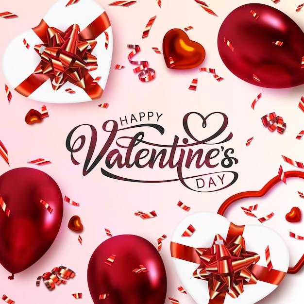 Happy valentine's day banner . hand drawn lettering. Premium Vector