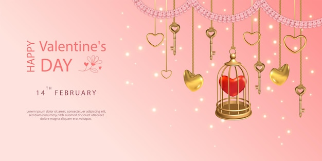 С днем святого валентина баннер. висячие ключи, золотая птичья клетка, сердечки и розовая цветочная гирлянда Premium векторы