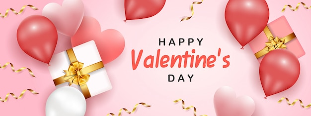 Happy valentine's day banner template Premium Vector
