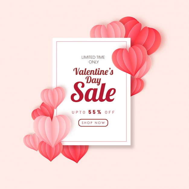 Happy valentine's day banner Premium Vector