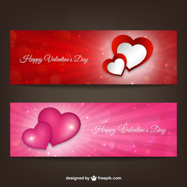 Happy Valentine\'s Day banners Vector | Free Download