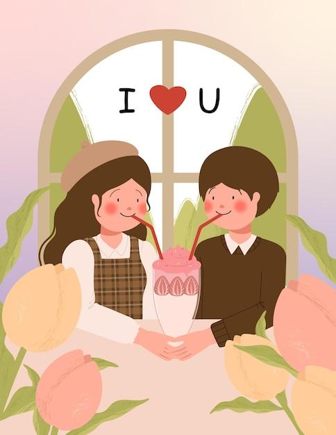 Счастливая карта дня святого валентина с милой парой на свидании в кафе векторная иллюстрация Бесплатные векторы