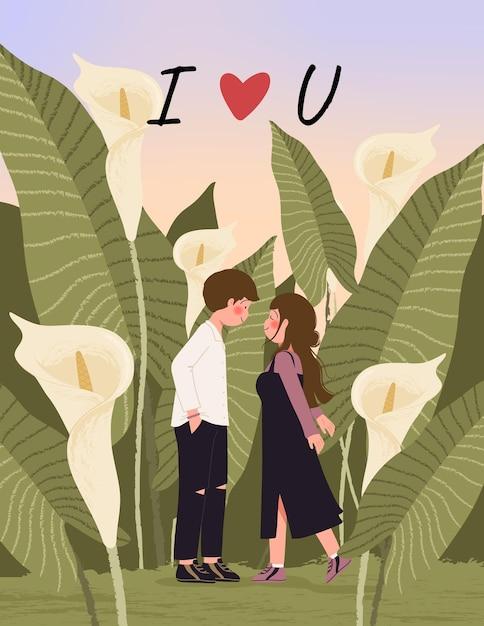 С днем святого валентина открытка с милой парой на иллюстрации поля каллы Бесплатные векторы
