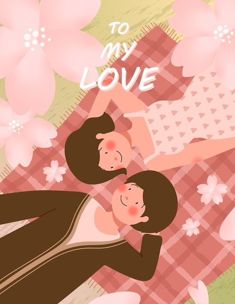 Happy valentine's day card with cute couple on picnic during romantic date vector illustration Free Vector