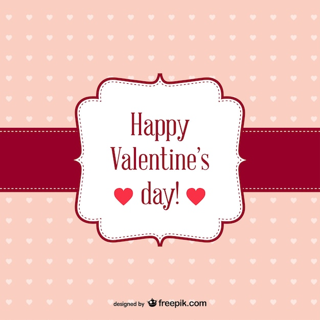Happy valentine's day card with dots Free Vector