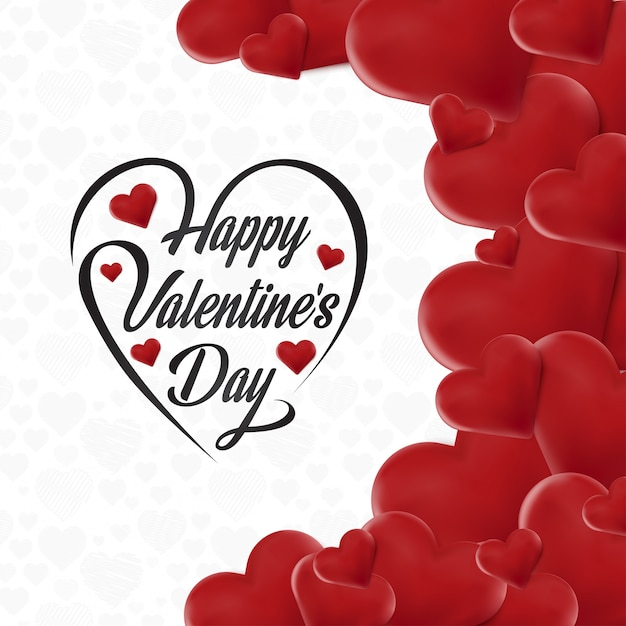 Happy Valentine's day card with hearts Vector | Free Download