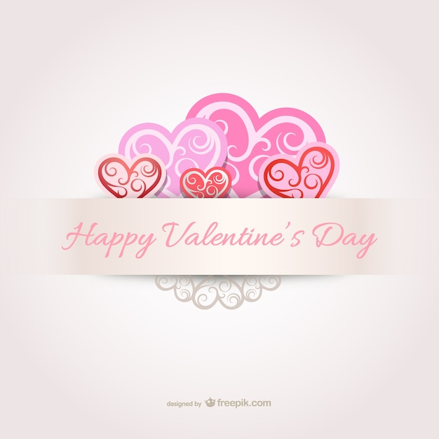 Happy Valentine\'s Day card with hearts