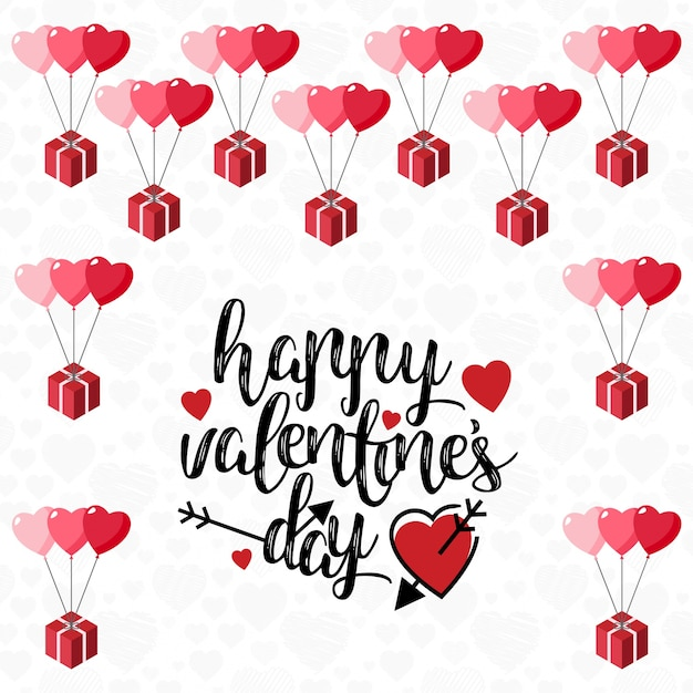 Happy valentine's day card with light background Free Vector