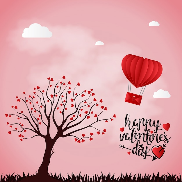 Happy Valentine S Day Card With Pink Background And Tree Vector