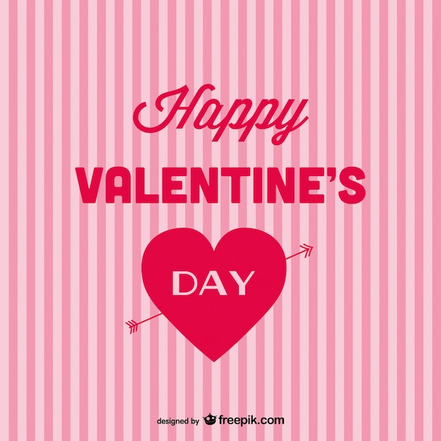 Happy Valentine\'s Day card with pink stripes Vector | Free Download