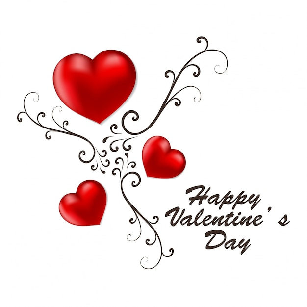 Happy Valentine's day card with red hearts Vector ...