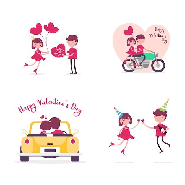 Happy Valentineu0027s Day Character 4 Sets Premium Vector