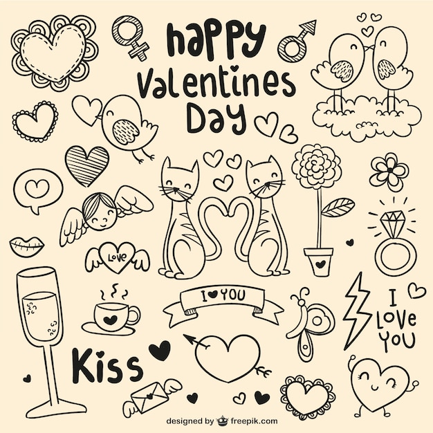 happy valentine's day doodles vector | free download, Ideas