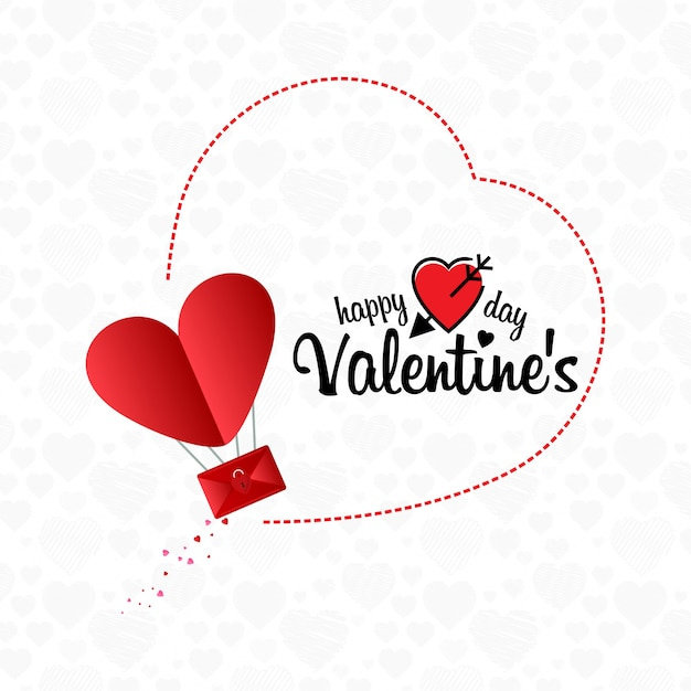 Happy Valentine's Day email concept background Free Vector