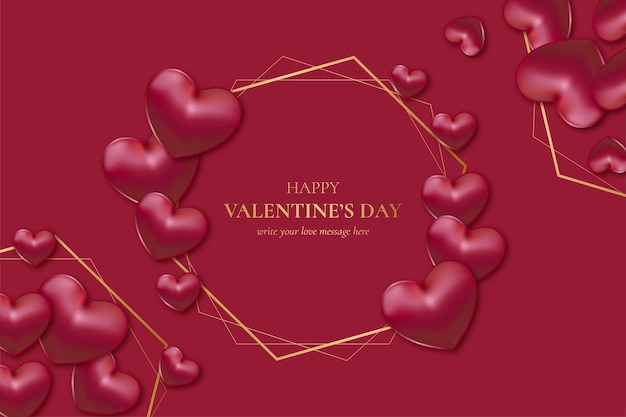 Happy valentine's day golden frame with realistic hearts Free Vector