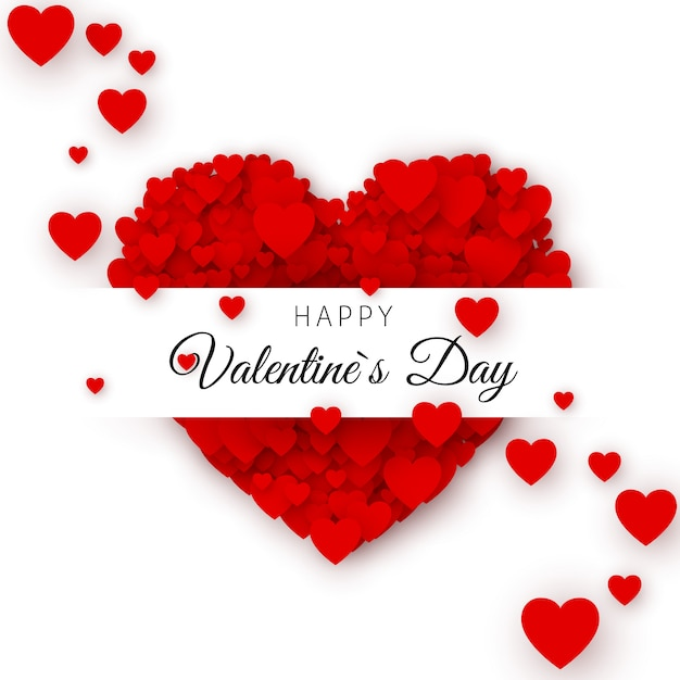 Happy valentine`s day greeting card cover template. heart frame with label. heart consisting of a multitude of hearts with space for text.  illustration Premium Vector