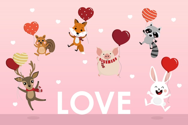 Happy valentine's day greeting card with cute animal hold the heart balloons. Premium Vector