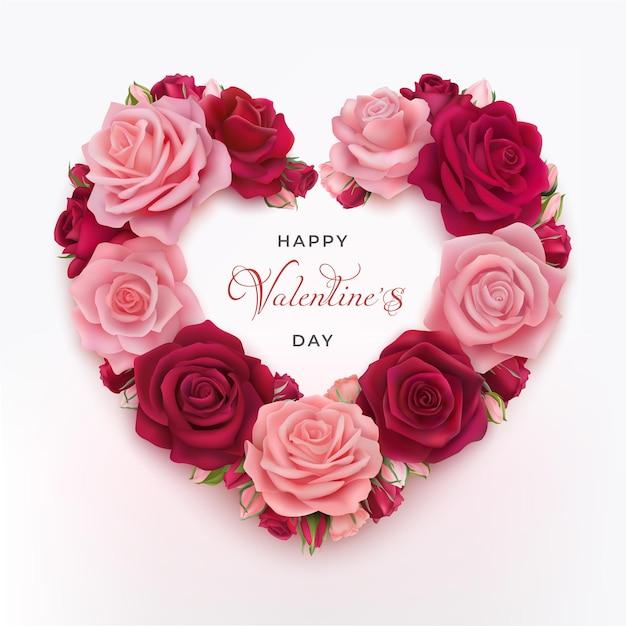 분홍색과 빨간색 사실적인 장미와 해피 발렌타인 데이 인사말 카드. 축하 텍스트 해피 발렌타인입니다. 프리미엄 벡터
