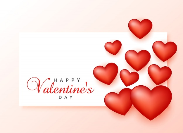 Happy Valentine S Day Greeting Design With 3d Hearts Vector