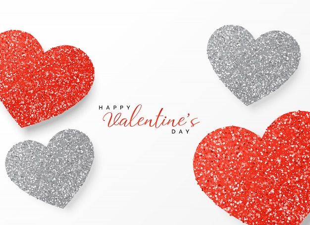Happy valentines day greeting template glitter design in red and happy valentines day greeting template glitter design in red and gray color free vector m4hsunfo
