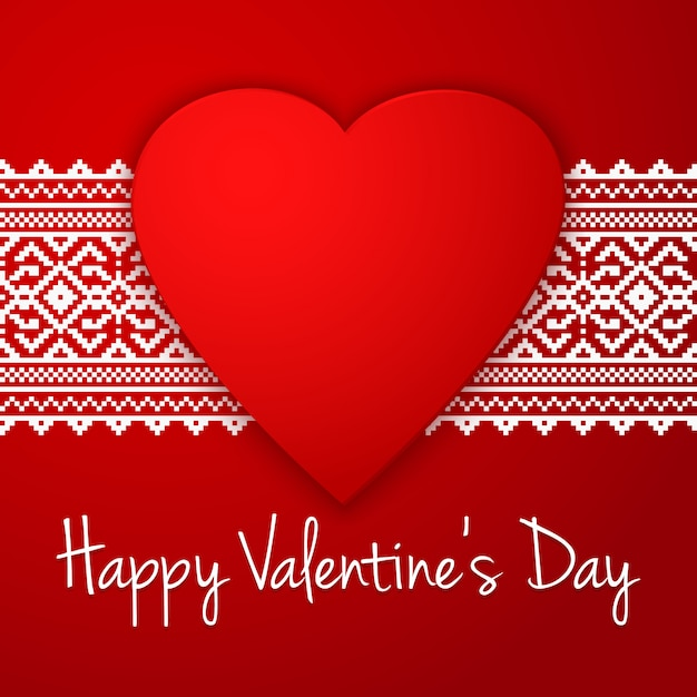 Happy valentine's day greeting with ethnic border Free Vector