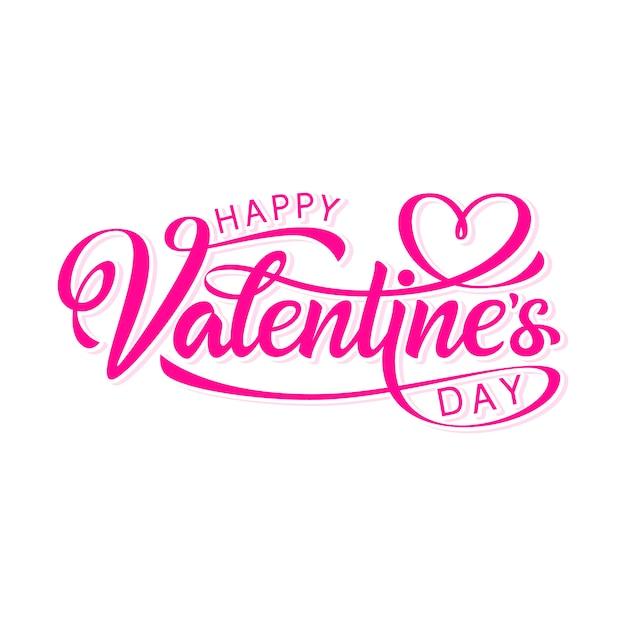 Happy valentine's day hand drawn lettering Premium Vector