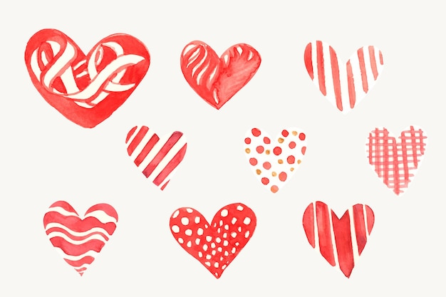 Happy valentine's day heart icon collection Free Vector