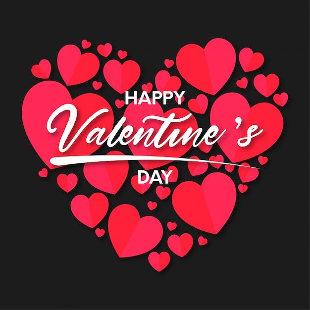 Happy valentine's day hearts background Free Vector