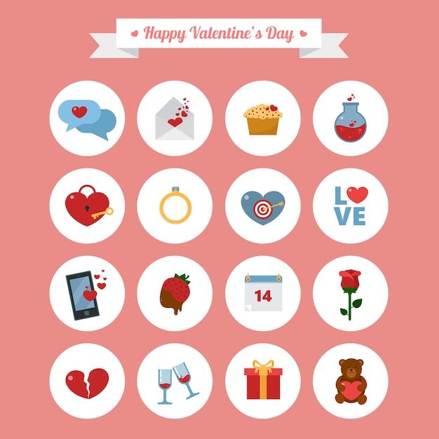 Happy valentine's day icons set Premium Vector