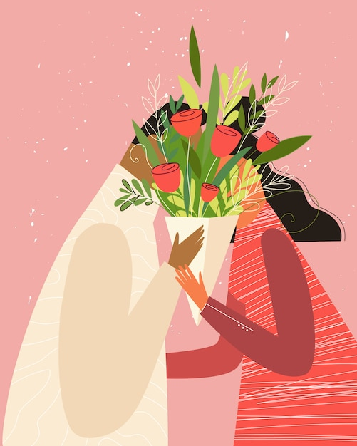 Happy valentine's day illustration. cute romantic couple in love kissing behind the flowers Premium Vector