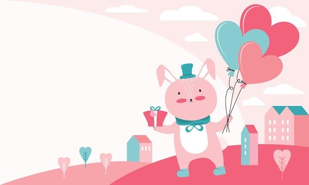 幸せなバレンタインデーのイラスト。贈り物と風船が都会の風景の上にハートの形でピンクのウサギ。恋するキャラクター動物 Premiumベクター
