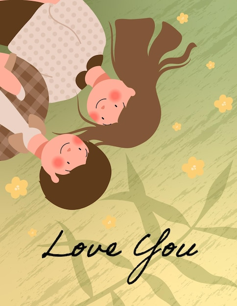 Happy valentine's day illustration with cute couple Free Vector