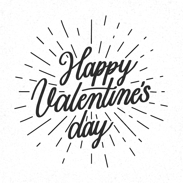 Happy valentine's day lettering in black and white Free Vector