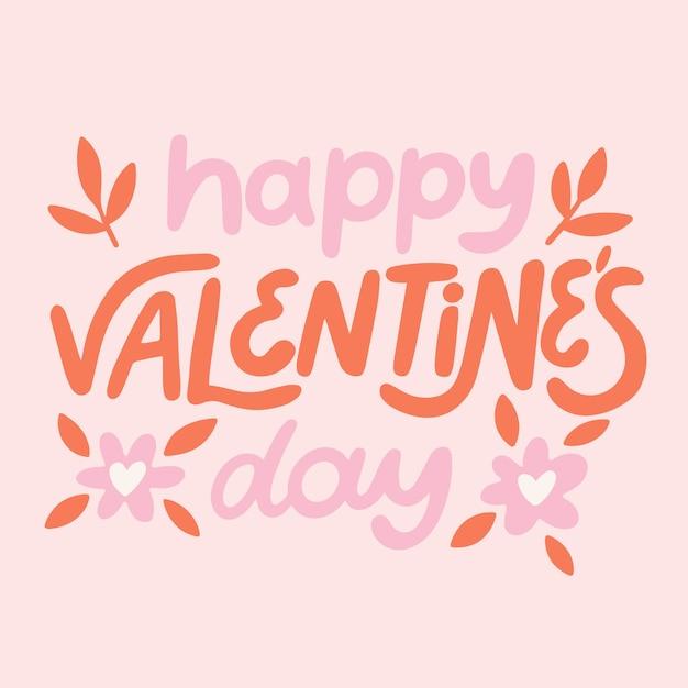 ピンクの背景に幸せなバレンタインデーのレタリング 無料ベクター