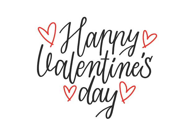 Happy valentine's day lettering Free Vector