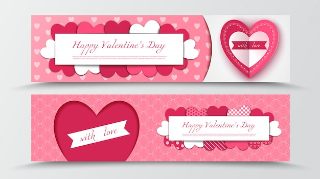 Happy valentine's day paper cut banners with hearts Premium Vector