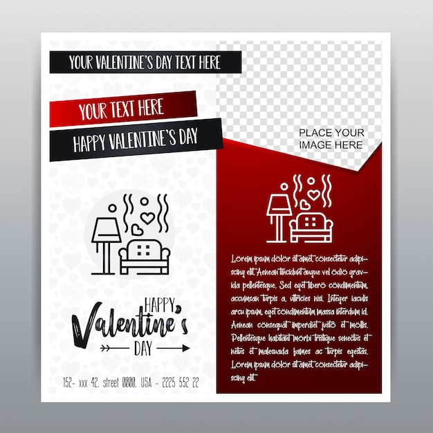 Happy Valentine's Day Red Icon Vertical Banner Red background. Vector illustration Free Vector