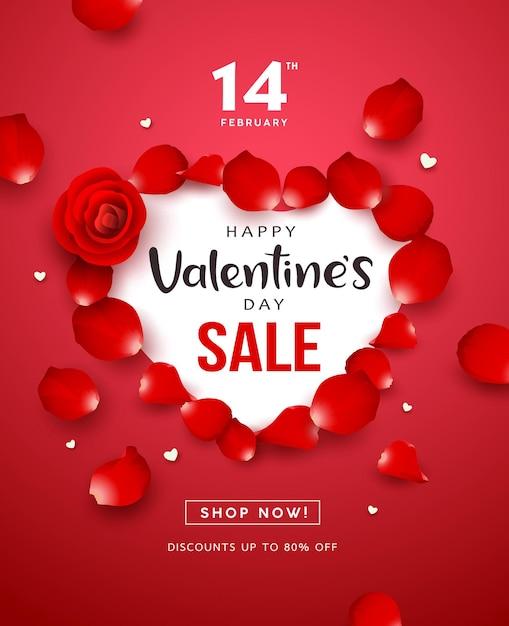 С днем святого валентина красная роза распродажа в форме сердца концепция флаер дизайн плаката на красном фоне Premium векторы