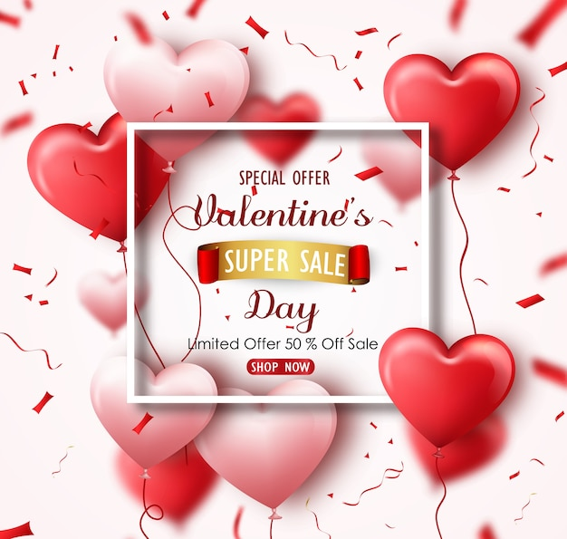 Happy Valentine S Day Sale Banner Vector Premium Download