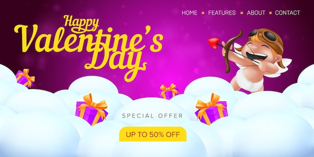 Happy valentine's day special offer landing page template or advertising sale banner. Premium Vector