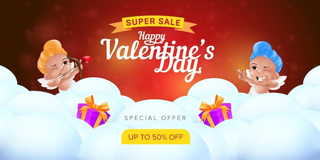 Happy valentine's day special offer landing page template or super sale promotion banner. Premium Vector