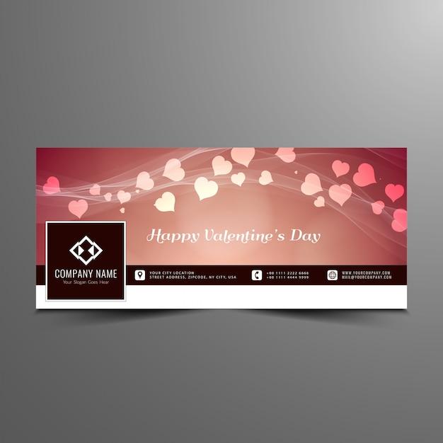 Happy valentine's day stylish facebook timeline banner template Premium Vector