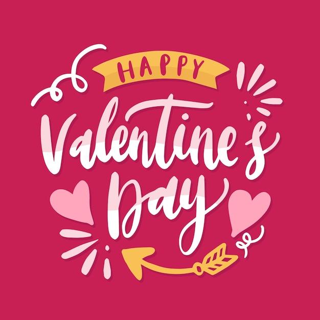 Happy valentine's day typography Premium Vector