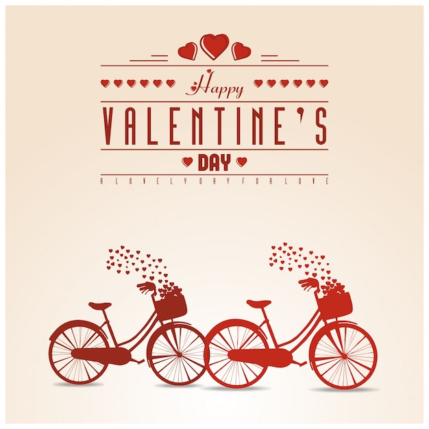 Happy Valentine S Day Vintage Card With Cycle Vector Premium Download