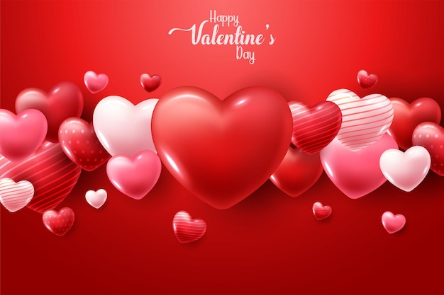Happy valentine's day with 3d hearts Free Vector