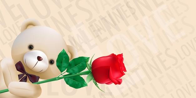 빨간 장미를 들고 귀여운 곰과 함께 해피 발렌타인 프리미엄 벡터