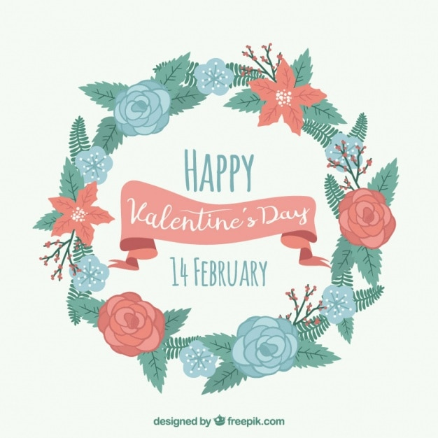 Happy valentine\'s day with decorative wreath in\ pastel colors