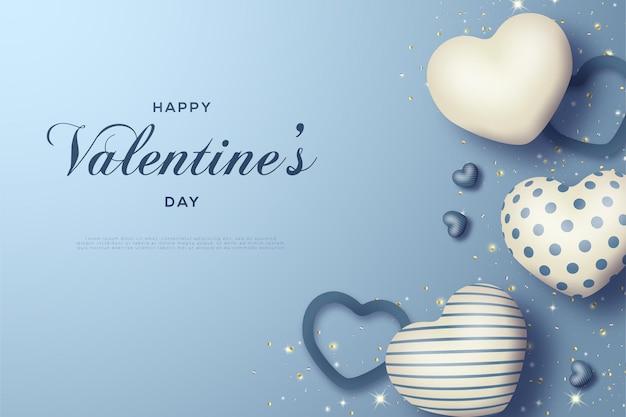 С днем святого валентина с парящим воздушным шаром Premium векторы